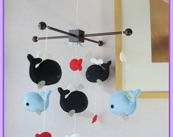 Baby Mobile, Nursery Decor, Whale Mobile, Jackson Nursery Bedding - Navy Blue Red, Match Bedding Mobile