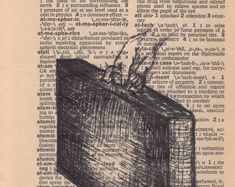Original Dictionary Art Drawing, Upcycled Vintage Paper, Attaché Case, Briefcase, Hand Holding Black and White Illustration, Pen and Ink