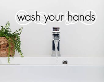 wash your hands decal bathroom wall decal bathroom wall decor bathroom decor