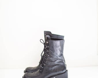 black leather lace and hook combat snakeskin boots - women's size 8 M