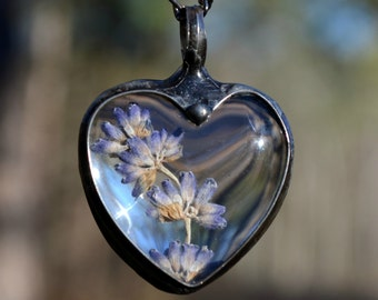 Dried Lavender Flowers Encased in Large Glass Heart Pendant, Perfect Valentines Gift for the Nature Lover, Lavender, Large Heart (2579)