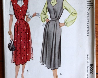 1951 Vintage McCall's 8652 Maternity Jumper & Blouse Sewing Pattern Bust 36