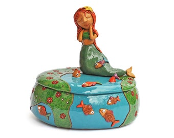 Ceramic treat bowl with a dreaming mermaid