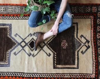 "vintage nomadic rug, bold geometric rug, rustic Gabbeh rug, 6' 8"" x 3'10"""