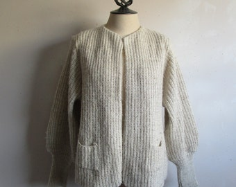 80s Oatmeal Open Cardigan Vintage 1980s Wide Rib Knit Womens Sweater Large