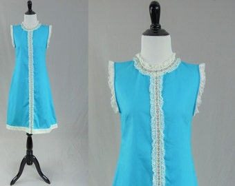 60s Bright Blue Dress - Lace and Ribbon Trim - Pink Blue Flowers - Vintage 1960s - XS S