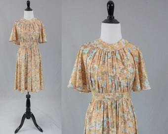 70s Butterfly Sleeve Dress - Floral Print - Full Skirt - Vintage 1970s - S