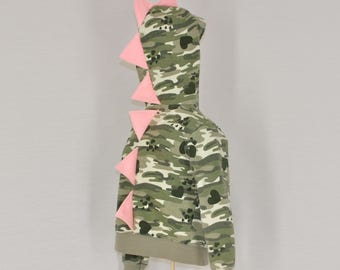 Girly Camo Dinosaur Hoodie with Light Pink Spikes - Size 4