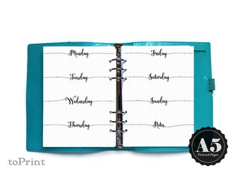 Printed Weekly Planner Inserts - A5 - Calligraphic Script - Bullet Journal Spread with Grids - Horizontal Week Layout Undated Wo2P - BuJo