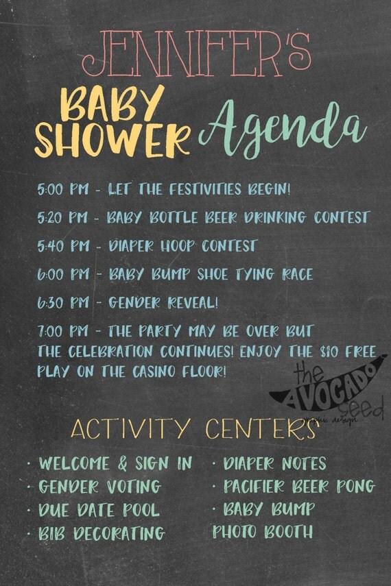 chalkboard baby shower agenda any size printable diy