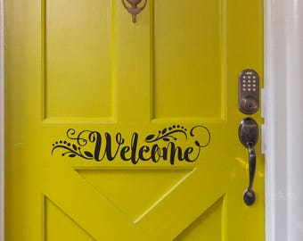 Welcome Decal Front Door Sticker in Modern Calligraphy Style with Laurel Leaf Floral Design - WB412