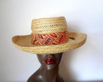 1950s Wide Brim Sun Hat vintage NOS fedora style Italian straw hat