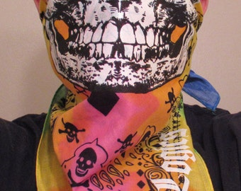 EGO TRIPPING Glow In The Dark Skull on Tie-Dye black paisley Rainbow Rave Bandana Black Light Neck Warmer Mask Gaiter Ultra Burningman PLUR