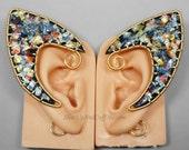 Elf Ear Cuffs, Black and Iridescent Elf Ears, Gold Elf Ears, Polymer Clay Elf Ears - PAIR