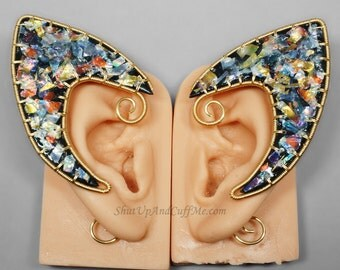 Elf Ear Cuffs, Black and Iridescent Elf Ears, Gold Elf Ears, Polymer Clay Elf Ears - PAIR