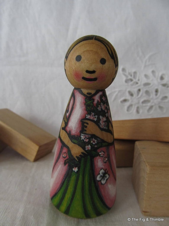 Fairy Peg Doll Girl -watercolored large size 3.5""