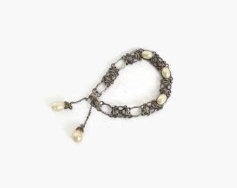 Vintage 30s Silver Filligree BRACELET / 1930s Delicate Pierced Metal & Faux Pearl Bracelet