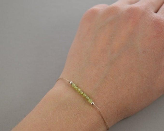 Peridot Beaded Bracelet, August birthstone, wish bracelet, best friend gift, minimalist jewelry, best friend bracelet, beaded bracelet