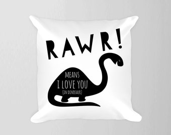 Dinosaur Pillow, Rawr Means I Love You Dinosaur Black and White Boy Room, Nursery Dinosaur, Toddler Room Boy Black White Brontosaurus Decor