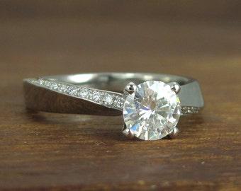 Forever One Moissanite Engagement Ring, Platinum Braided Engagement Ring, Unique Moissanite engagement ring, white gold engagement ring