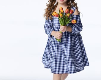 SPRING SALE! Girl's Blue Gingham Dress// Tabitha Dress// Flower Girl Dress// Girls Summer Clothing// Farmgirl Dress// Cotton Handmade Dress
