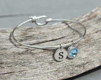 Personalized Grandmother Gift, Initial Birthstone Bracelet for Mom, Bracelet Initials, Bracelet Silver, March Birthstone Jewelry, Aquamarine