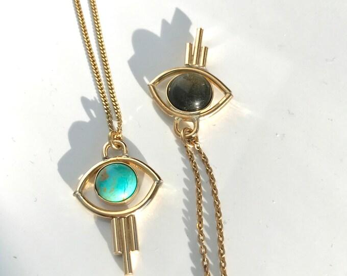 V i s i o n Eye Geometric Turquoise Stone Pendant Necklace