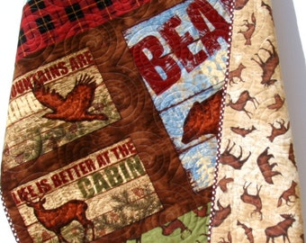 Quilt FLANNEL Baby Boy or Toddler Bedding Buffalo Check Plaid Woodland Forest Bears Deer Fish Outdoor Wilderness Nature Nursery Crib Blanket