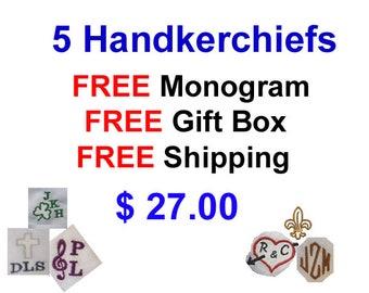 Men's Handkerchief Set, Free Monogram, Free Gift Box,  100% cotton, Lucky Guy, Irish , Love Always, Anniversary, Music, G Clef, Fluer-de-lis