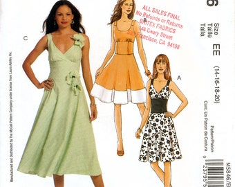 McCall's M5846 Sewing Pattern by Laura Ashley for Misses' Dresses - Uncut -  Size 14, 16, 18, 20