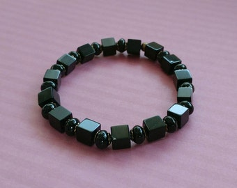 Onyx Cubes and Black Agate Gemstone Stretch Bracelet With Gold-Plated Brass Accents