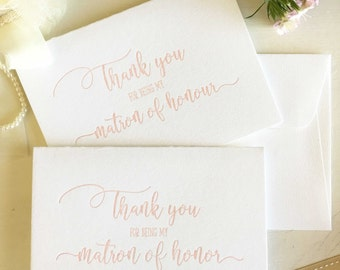 Matron of Honor Thank You Gift, Matron of Honour Thank You Card, Wedding Party Gift, Matron of Honor Gift, Matron of Honour Card, Blush Card