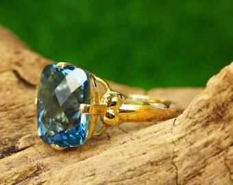 5.20ct 10K London Blue Topaz Solitaire Ring, London Blue Topaz Ring, Cushion Checkerboard Cut Topaz Ring, London Blue Topaz Ring Womens