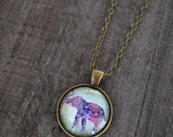 Collier médaillon - Collier éléphant - Elephant necklace - Bohemian jewelry - Circus necklace - Bijou bohémien - Coco Matcha
