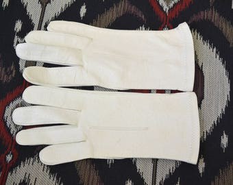 1950s Fownes Short White Lastic Leather Gloves, Size B