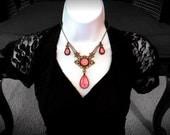 Victorian Necklace, Handmade Glass Opalite Pink and Orange, Filigree Art Nouveau Pendant, Renaissance Necklace, Color-Shift