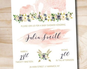 Boho Indian Watercolor Floral Arrow Baby Shower Invitation // Elephant Baby Shower Invitation // Girl - Custom PDF or Professionally Printed