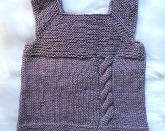 Hand Knitted Milo Vest, in lilac/mauve/purple  pure wool.  Perfect for 18 month - 2 years old