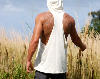 Men's Racerback Sleeveless Hoodie - Hemp Organic Cotton Jersey - Natural Color