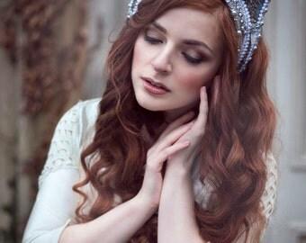 Duck Egg Blue and Silver 'Twilight Rose' Beaded Kokoshnik Crystal Couture Headdress