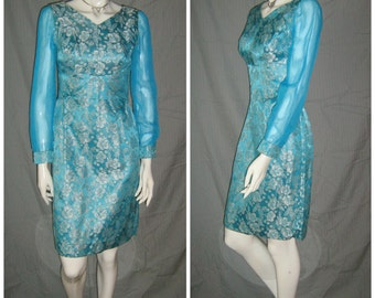 1960s ELSA Sparkly Blue And Silver Mad Men Lounge Mod Scooter Dress Space age Mini Garage Ska  1960s 50s Cocktail Girl Group Rockabilly VlV