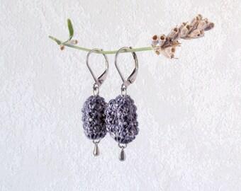 Earrings Nugget, dark blue jeans Dangle Earrings, Unique Style Textile Jewelry, silver steel leverbacks, knit drop ear hanger one of a kind