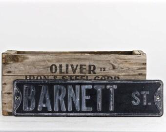 Vintage Street Sign, Old Street Sign, Black Street Sign, Rustic Decor, Barnett St, Metal Street Sign, Industrial Decor, Rustic Decor, Sign