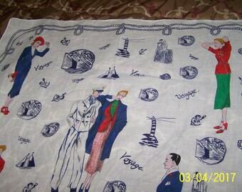 1950s Vintage travel souvenir scarf