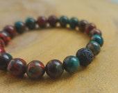 African Blue Opal & Lava Bead Diffusing Bracelet