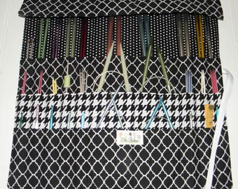 Knitting Needle Organizer, Knit/Crochet Needle Case, 30 Pockets, Black/White Prints, Gift for Her or Him, Ready to Ship