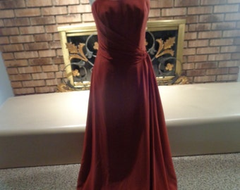 Vintage 90s Rust Colored Corset Bodice Evening Gown