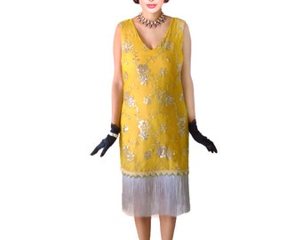 Retro Great Gatsby Dress Flapper Roaring 20s Cocktail Flapper Costume 1920s Robe Charleston Silver Sequins Mustard Yellow Tassel Fringes