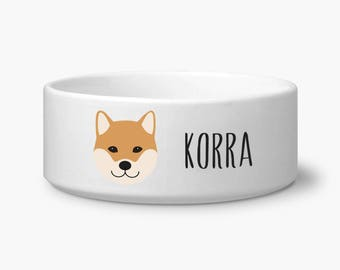 Custom dog bowl, Shiba Inu ceramic dog bowl personalized with your dog's name, Shiba Inu dog gift