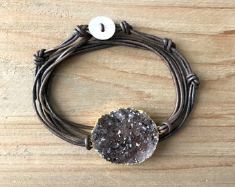 Druzy Bracelet - Druzy Wrap Bracelet - Leather Wrap Bracelet - Simple Wrap Bracelet - Wrap Bracelet